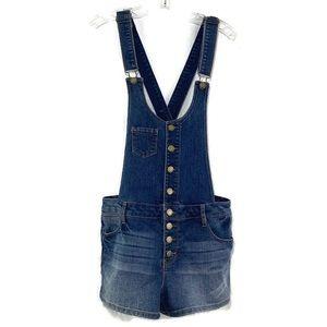 TINSELTOWN blue denim bibbed short overalls